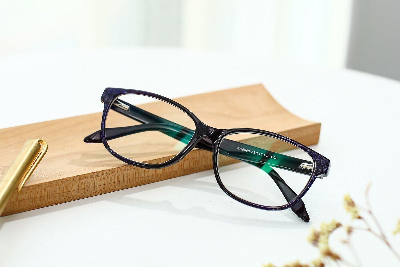 Floral-Violet Wayfarer Hipster Full-Rim Eyeglasses