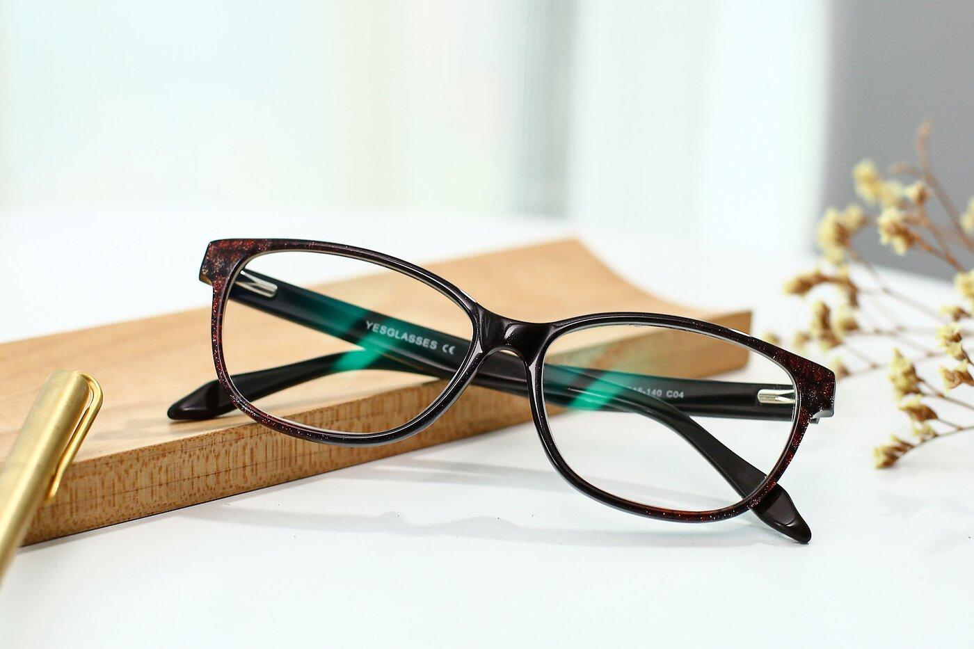 Floral-Brown Wayfarer Hipster Full-Rim Eyeglasses