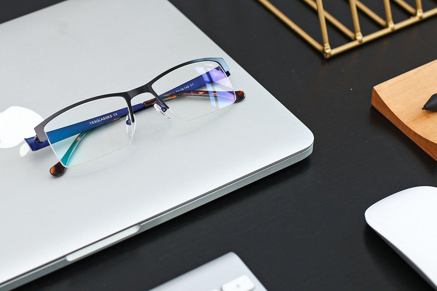 Black-Blue Metal Rectangle Semi-Rimless Eyeglasses