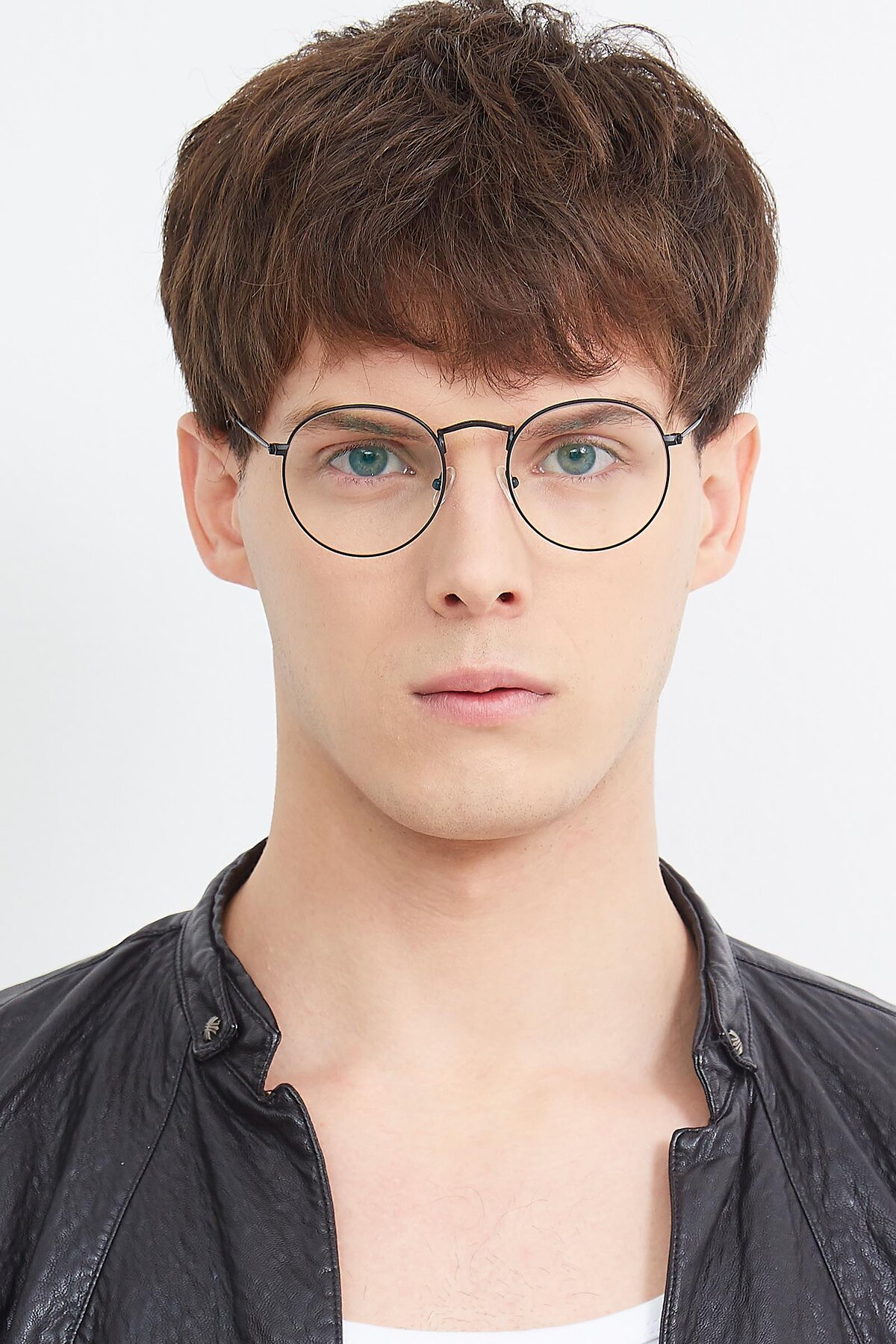 Men's lifestyle photography (portrait-1) of SR1552 in Black with Clear Eyeglass Lenses