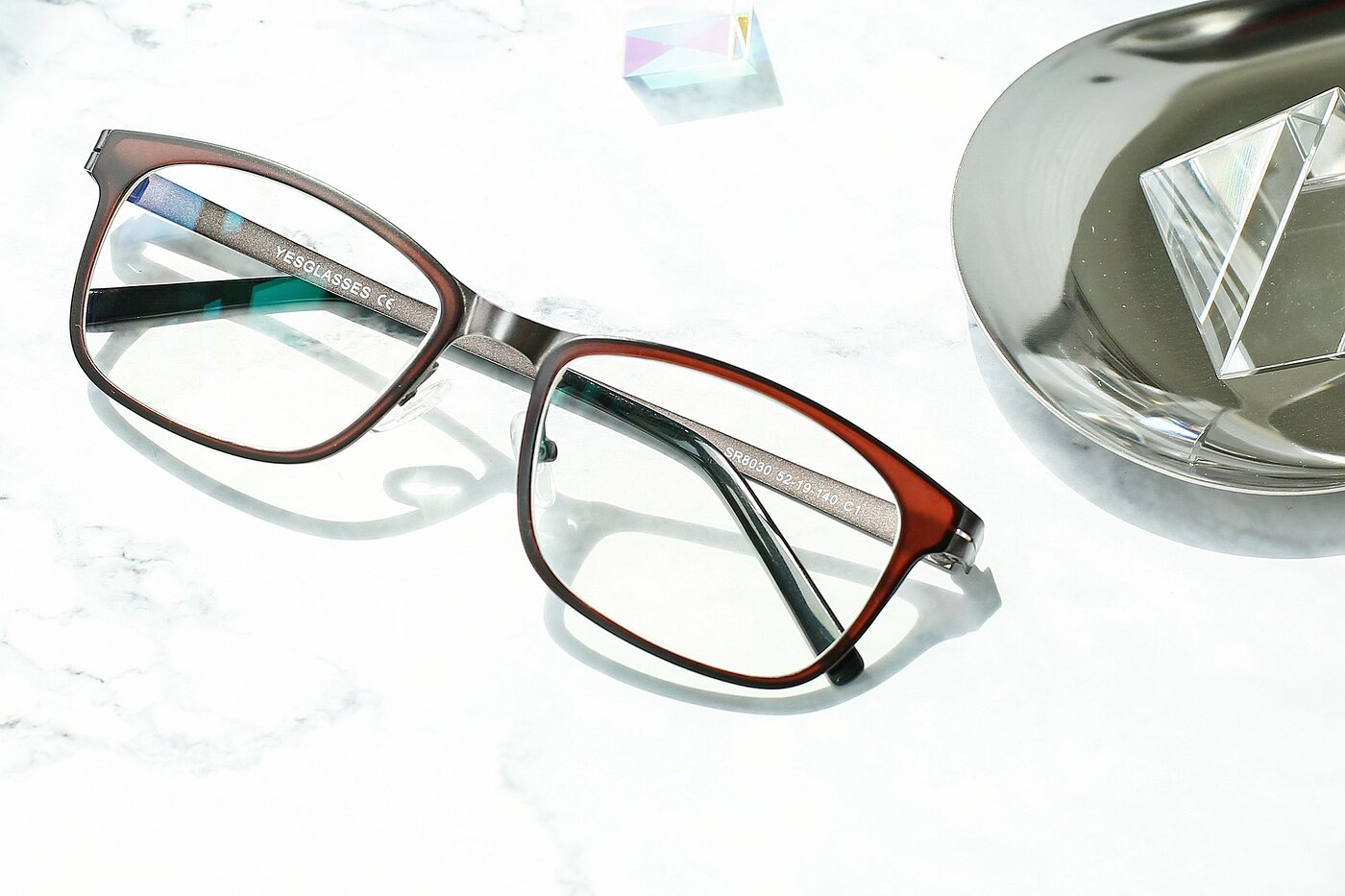Brown-Gun Lightweight TR90 Rectangle Eyeglasses