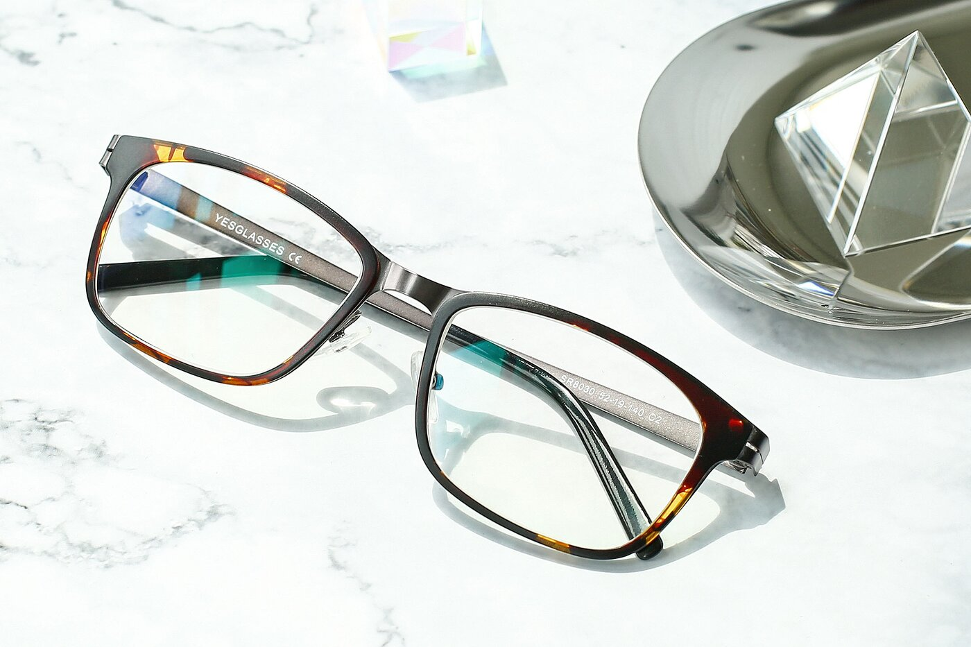 Tortoise-Gun Lightweight TR90 Rectangle Eyeglasses