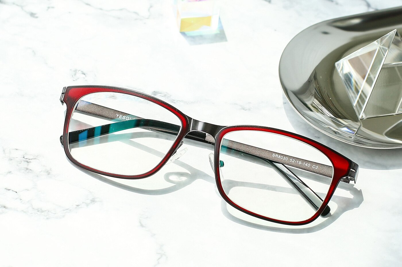 Burgundy-Gun Lightweight TR90 Rectangle Eyeglasses