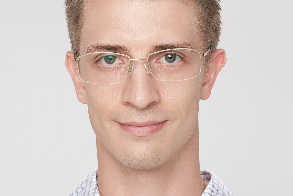Gold Thin Rectangle Semi-Rimless Eyeglasses