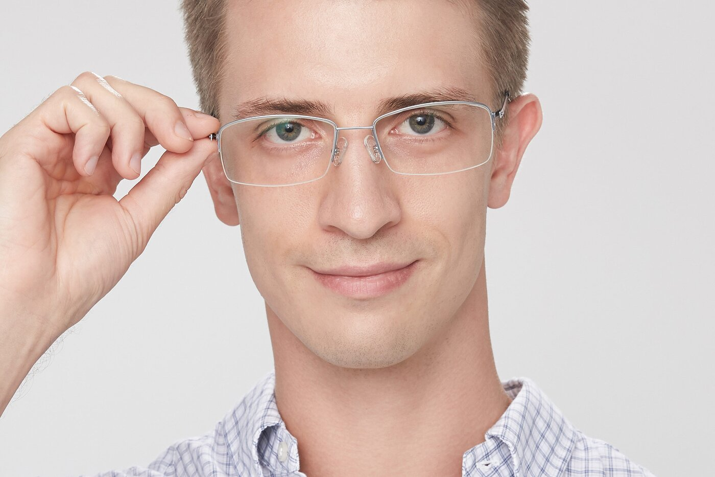 Silver Thin Rectangle Semi-Rimless Eyeglasses
