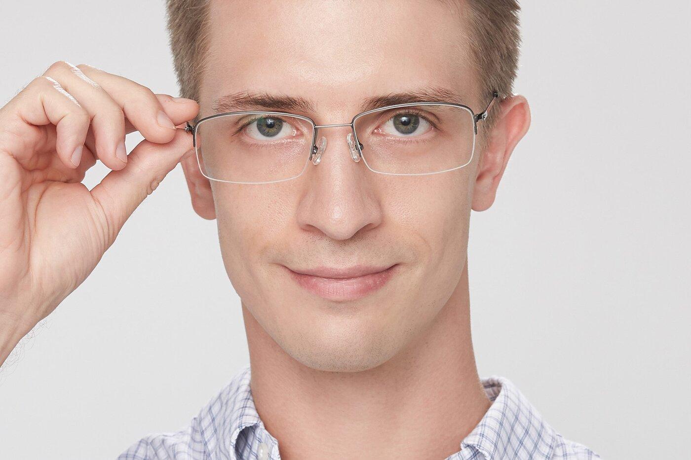 Gunmetal Thin Rectangle Semi-Rimless Eyeglasses