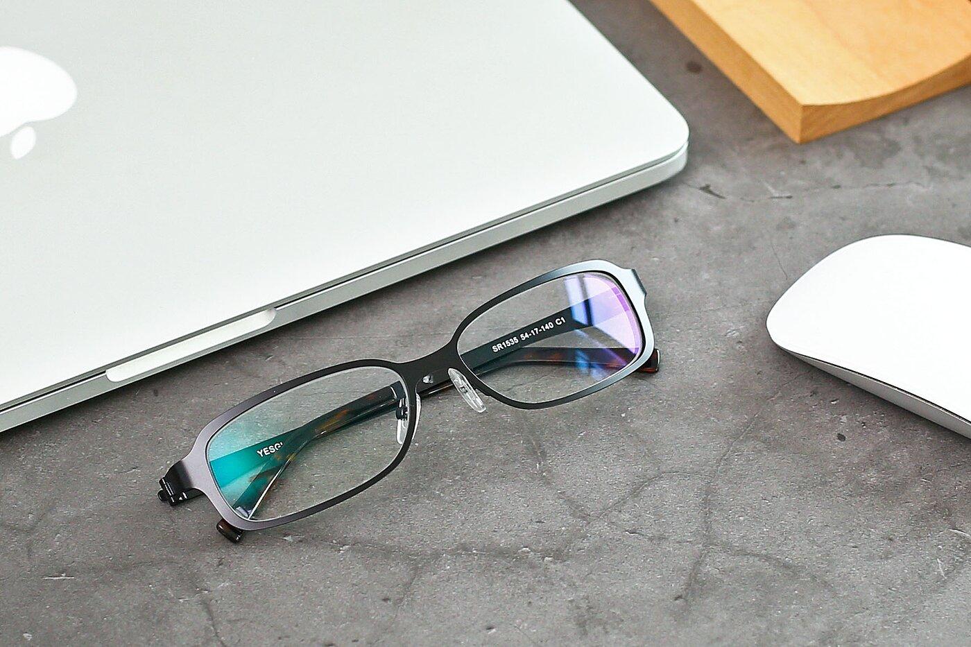 Black Wide Metal Rectangle Eyeglasses