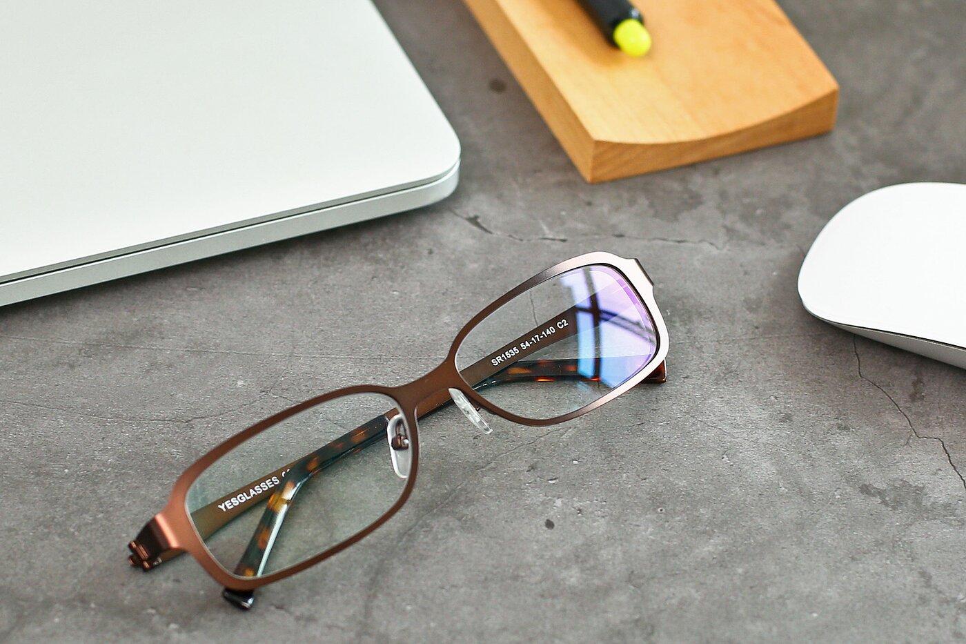 Bronze Wide Metal Rectangle Eyeglasses
