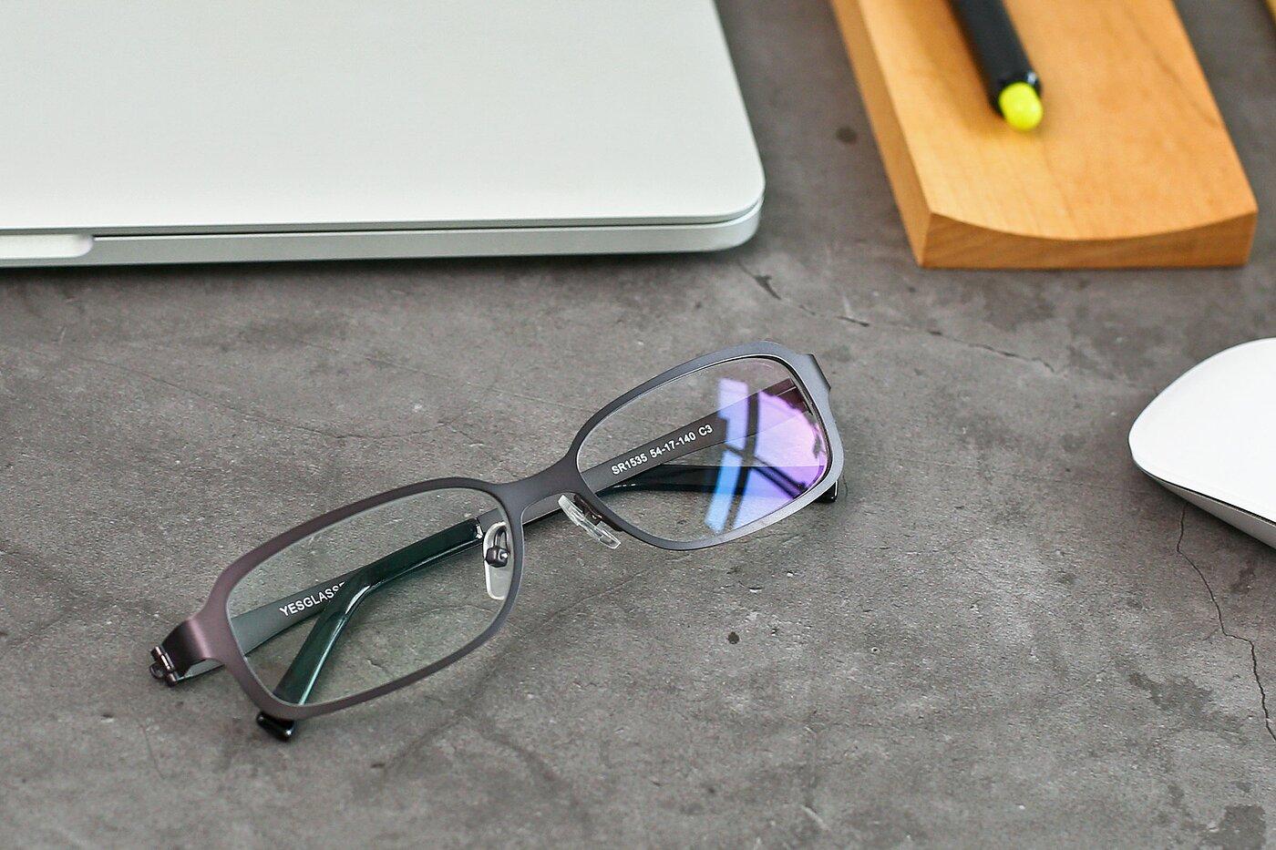 Gunmetal Wide Metal Rectangle Eyeglasses