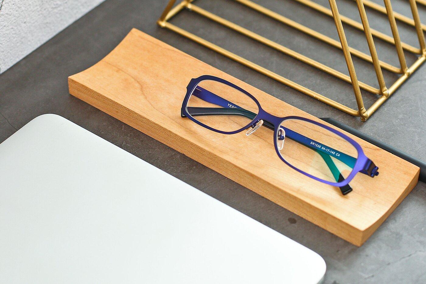Indigo Wide Metal Rectangle Eyeglasses