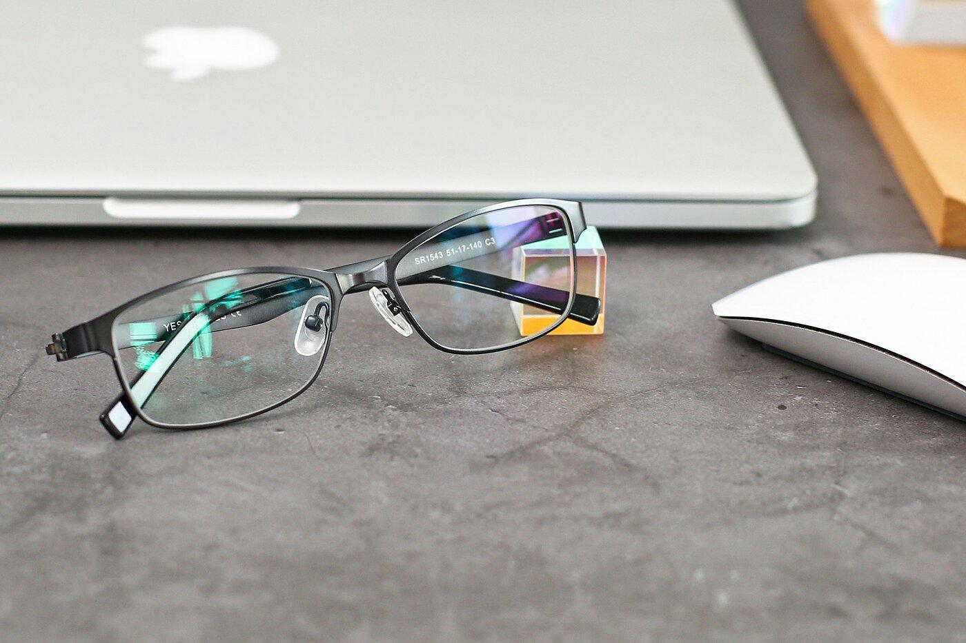 Gunmetal Metal Rectangle Full-Rim Eyeglasses