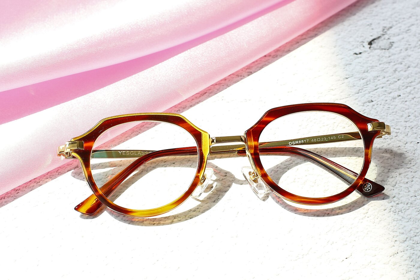 Brown Tortoise Geek-Chic Metal Bridge Acetate Eyeglasses