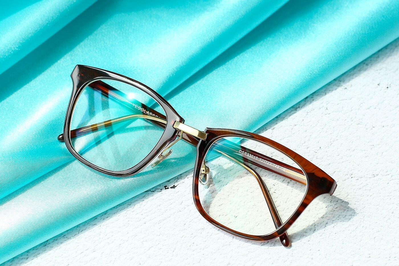 Striped Brown Horn-Rimmed Metal Bridge Square Eyeglasses