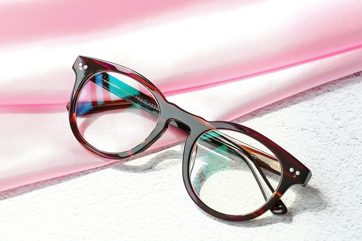 Stripeded Pruple Horn-Rimmed Geek-Chic Round Eyeglasses
