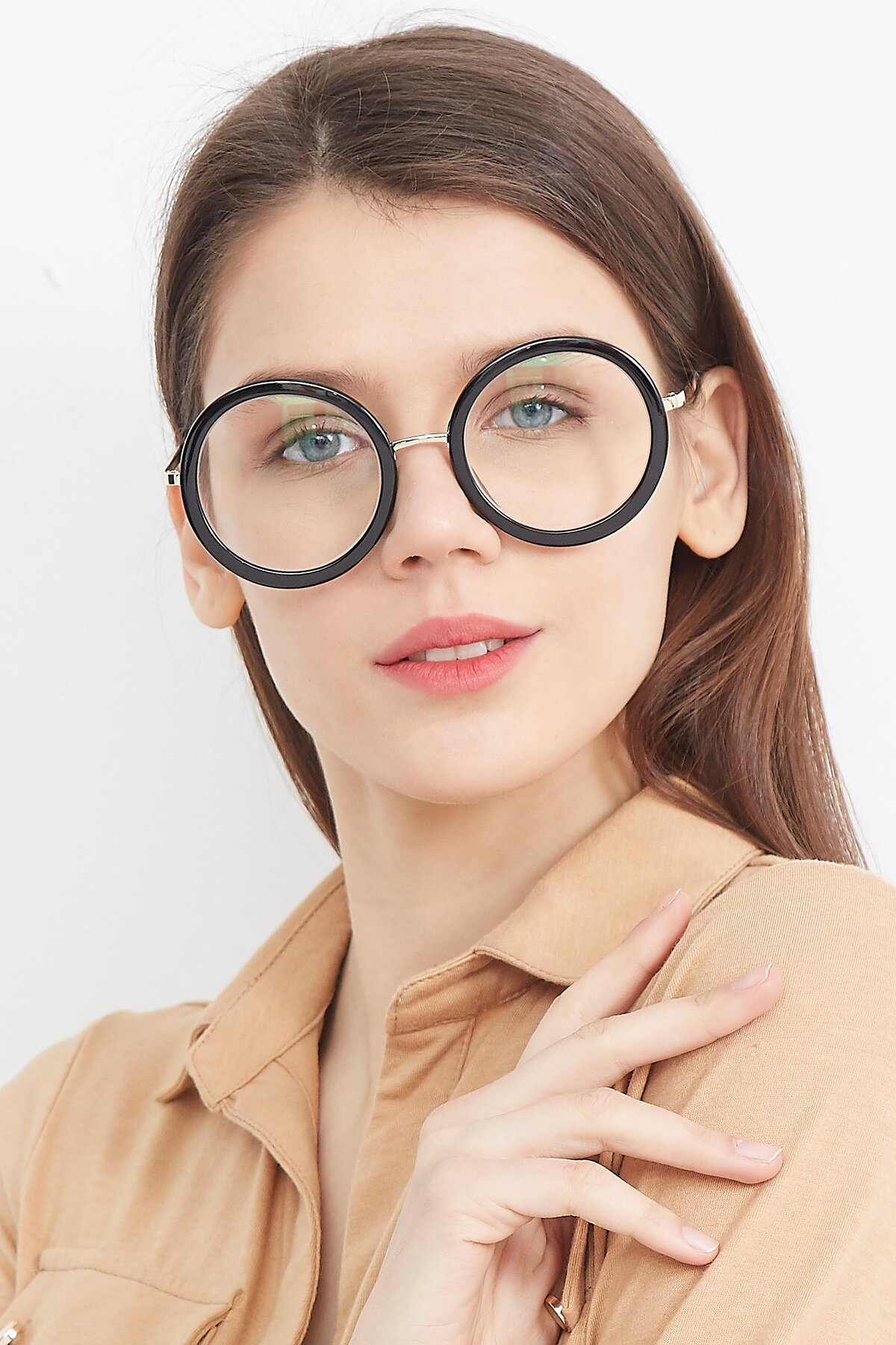 Women's lifestyle photography (portrait-1) of Bloom in Black with Clear Blue Light Blocking Lenses