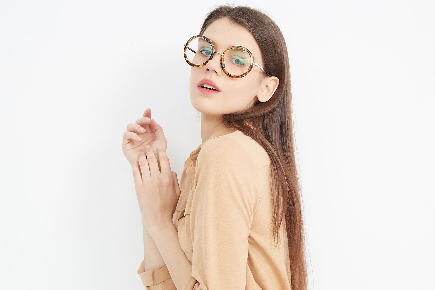 Transparent Tortoise Geek-Chic Oversized Round Eyeglasses