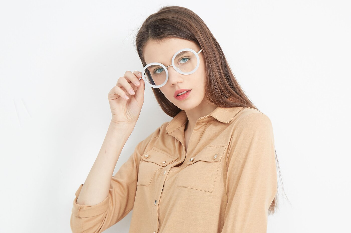Transparent Glacier Grey Geek-Chic Oversized Round Eyeglasses
