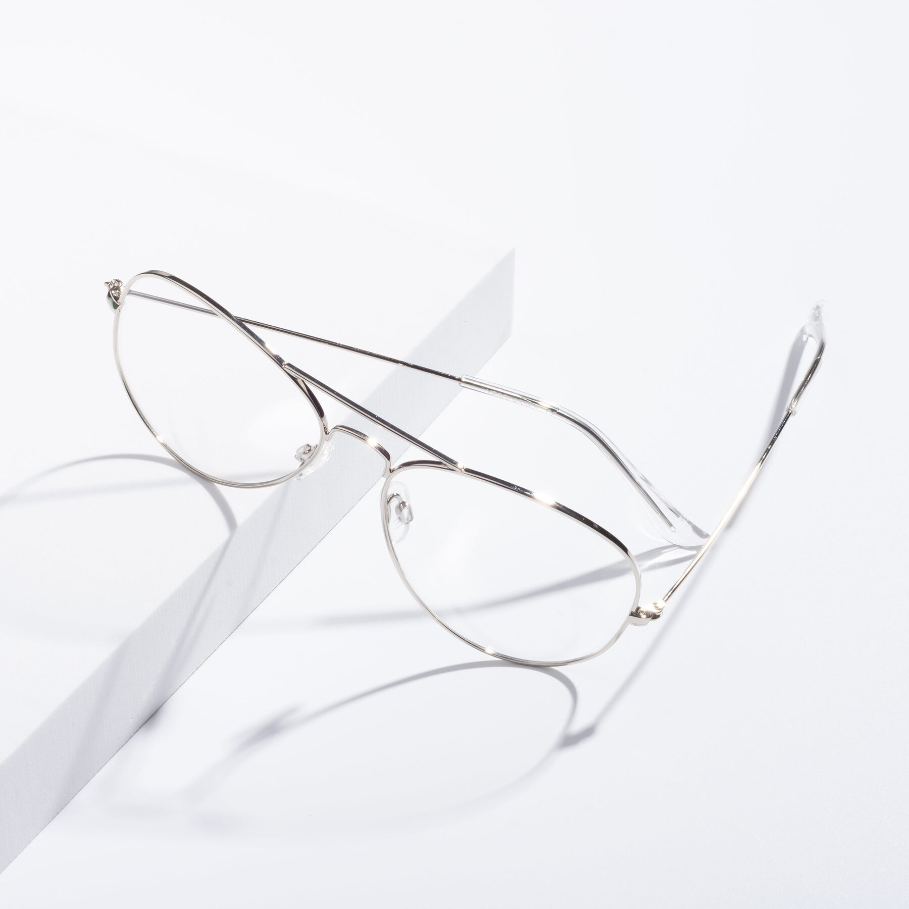 Lifestyle photography #2 of Yesterday in Silver with Clear Eyeglass Lenses