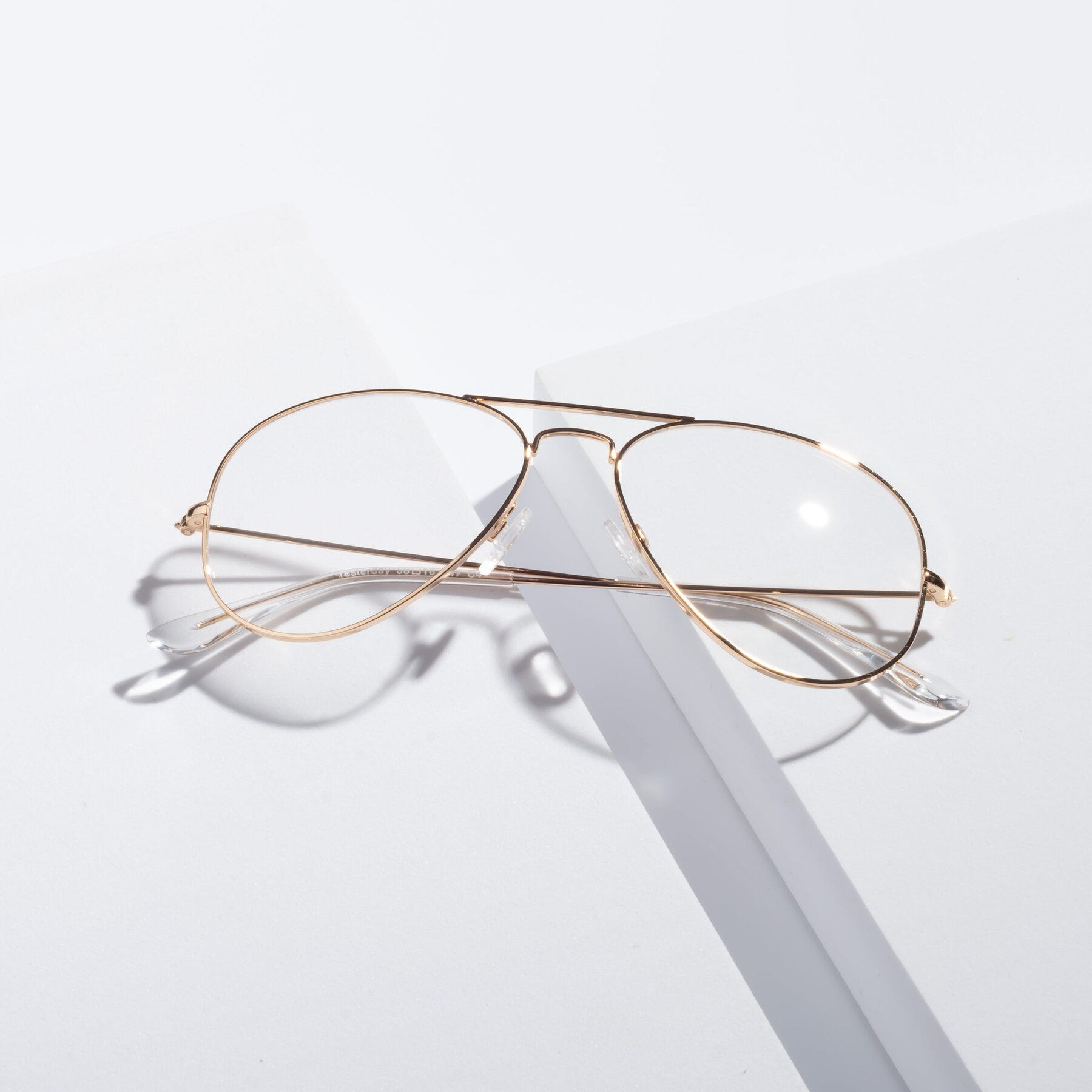 Lifestyle photography #1 of SSR035 in Shiny Gold with Clear Eyeglass Lenses
