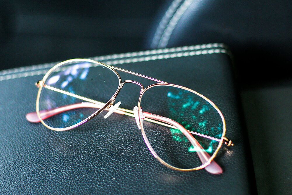 Rose Gold Grandpa Thin Aviator Eyeglasses