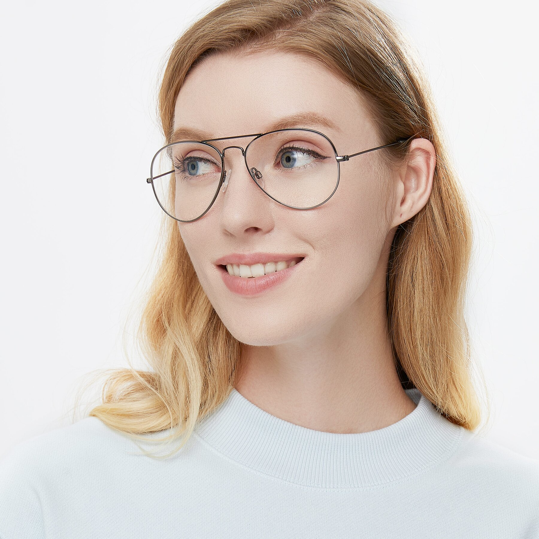 Women's lifestyle photography of Yesterday in Gunmetal with Clear Eyeglass Lenses