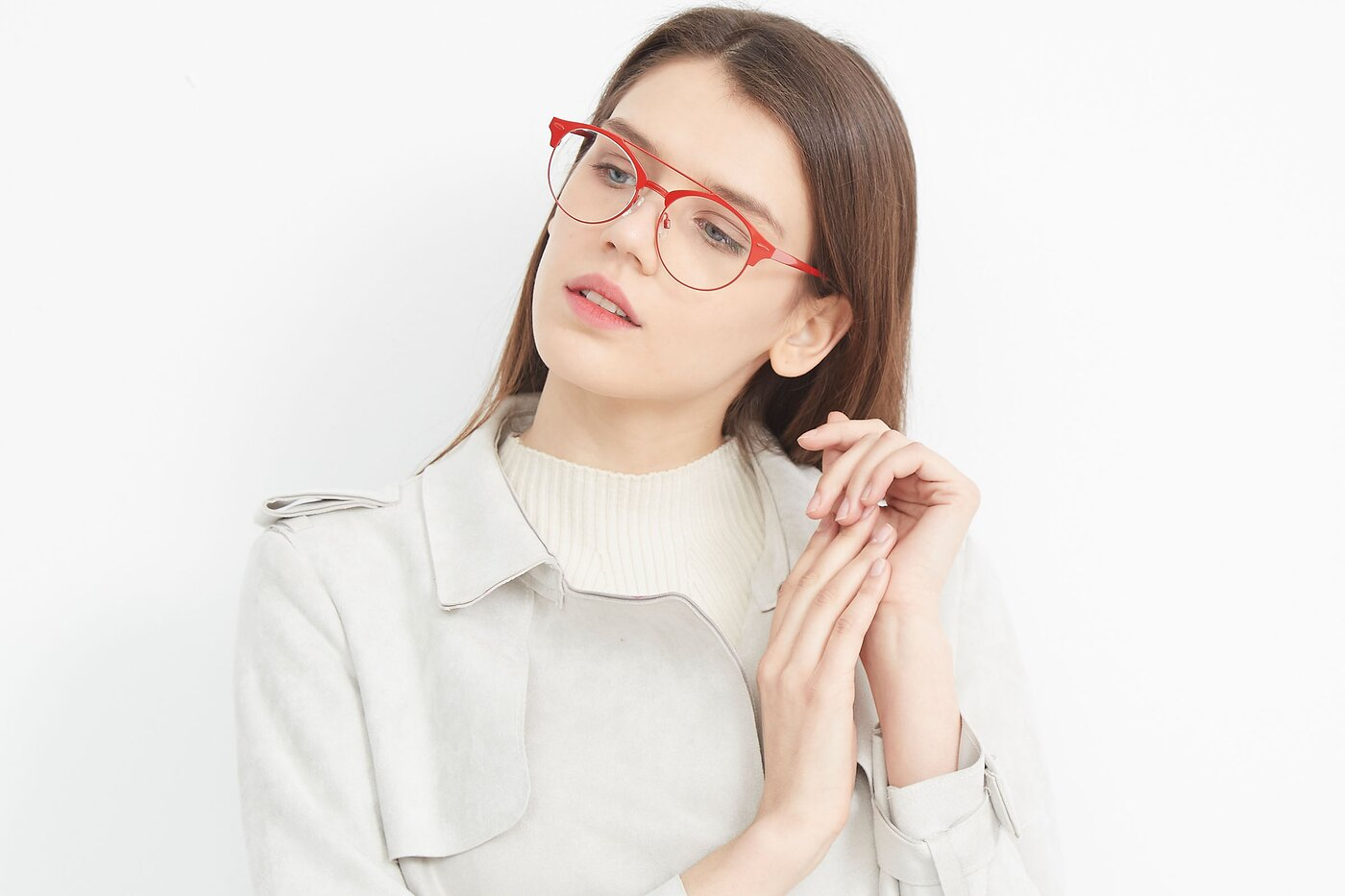 Red Grandpa Retro-Vintage Double Bridge Eyeglasses