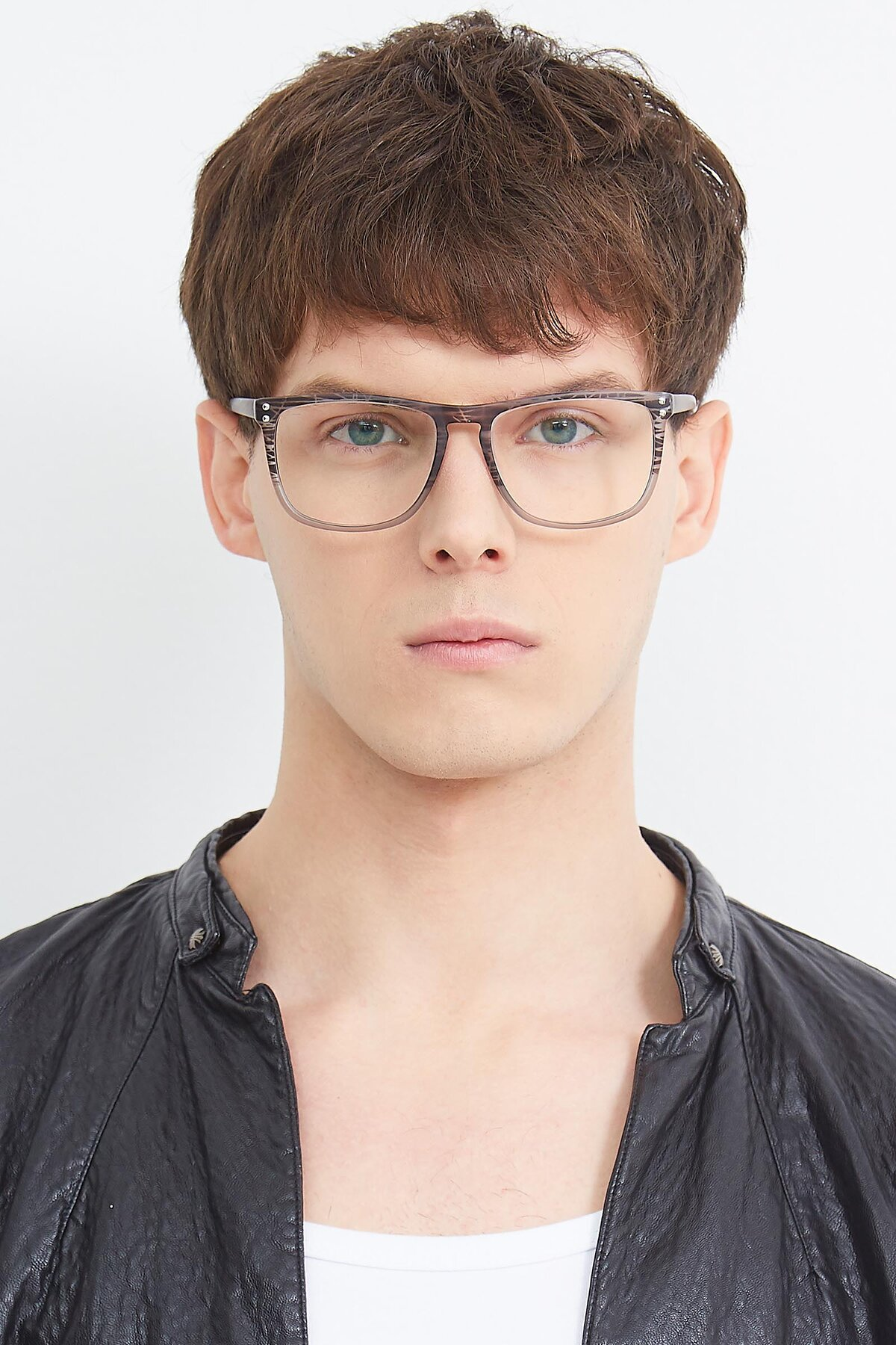 Men's lifestyle photography (portrait-1) of SSR411 in Translucent Floral Grey with Clear Eyeglass Lenses