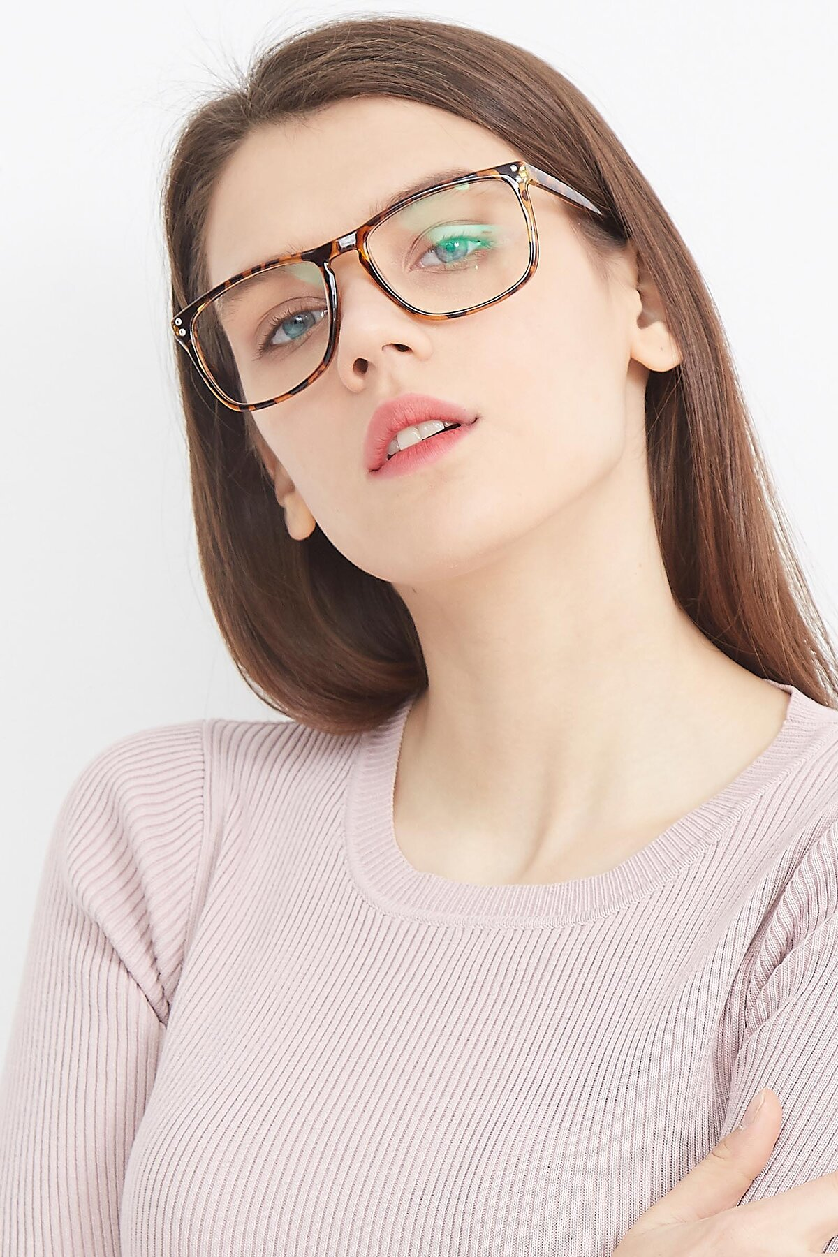 Women's lifestyle photography (portrait-2) of SSR411 in Translucent Orange Tortoise with Clear Eyeglass Lenses