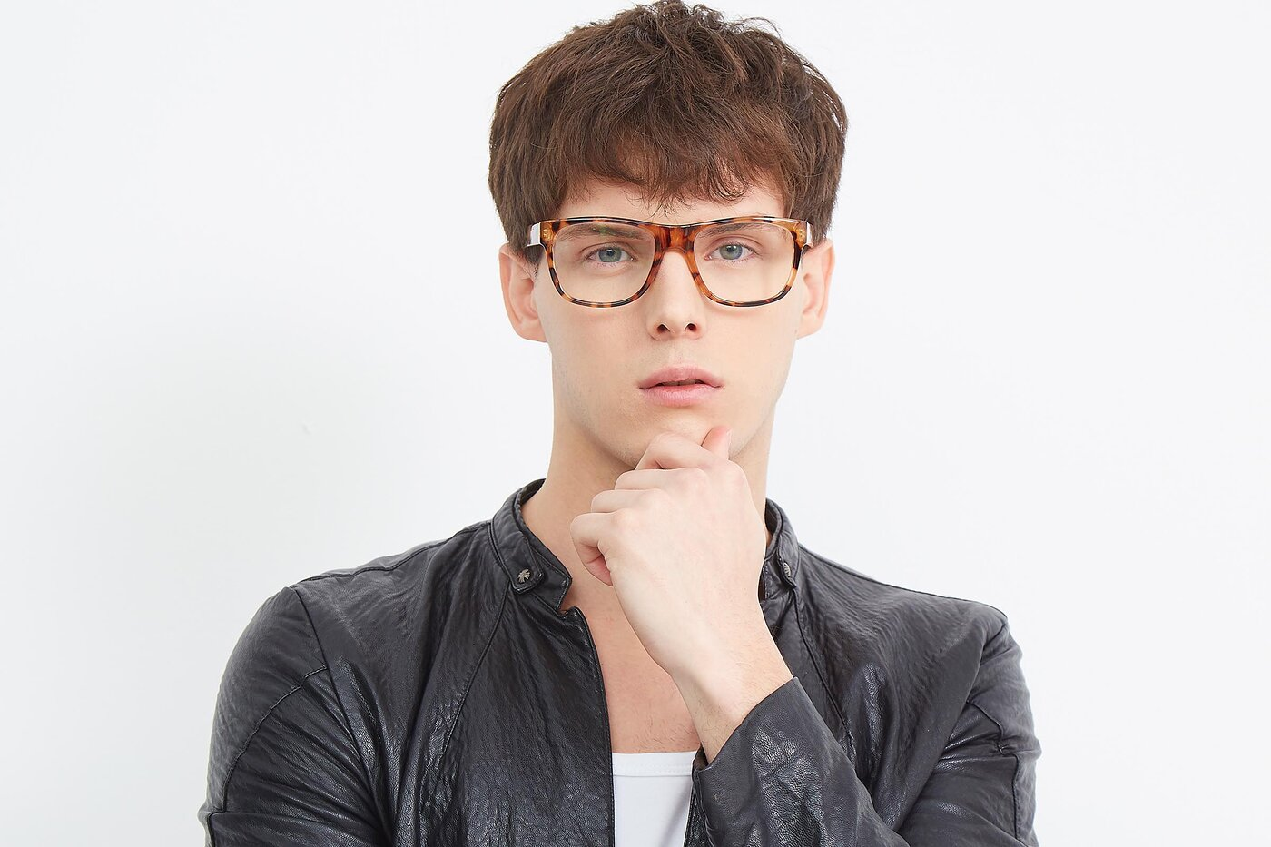Translucent Tortoise Oversized Geek-Chic Shield Eyeglasses