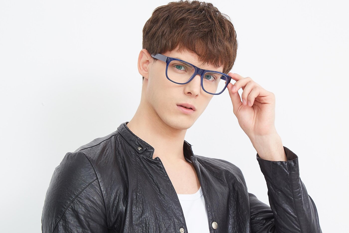 Blue Oversized Geek-Chic Shield Eyeglasses