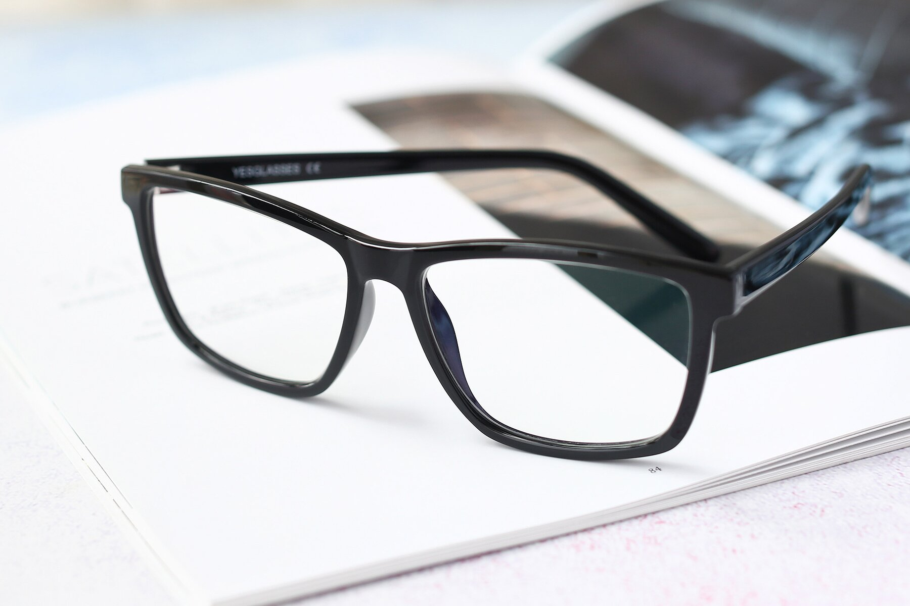 Lifestyle photography #2 of Sheldon in Black with Clear Eyeglass Lenses