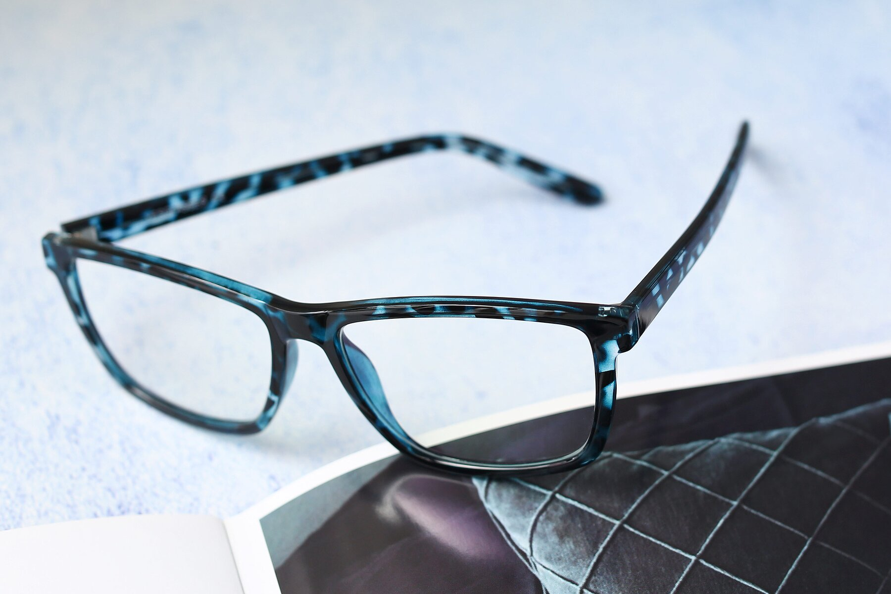 Lifestyle photography #2 of Sheldon in Blue Tortoise with Clear Blue Light Blocking Lenses