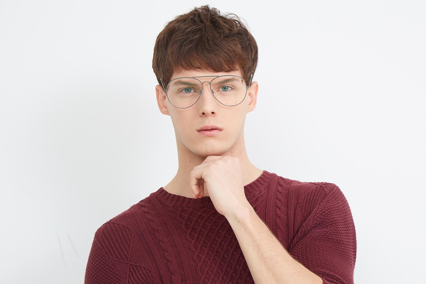 Gunmetal Oversized Grandpa Aviator Eyeglasses