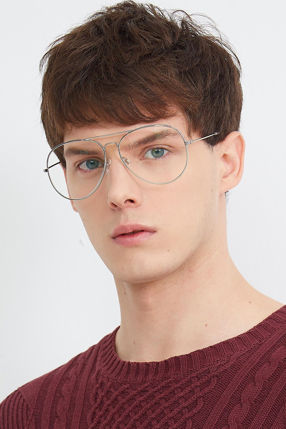 Men's lifestyle photography (portrait-1) of SSR179 in Silver with Clear Eyeglass Lenses