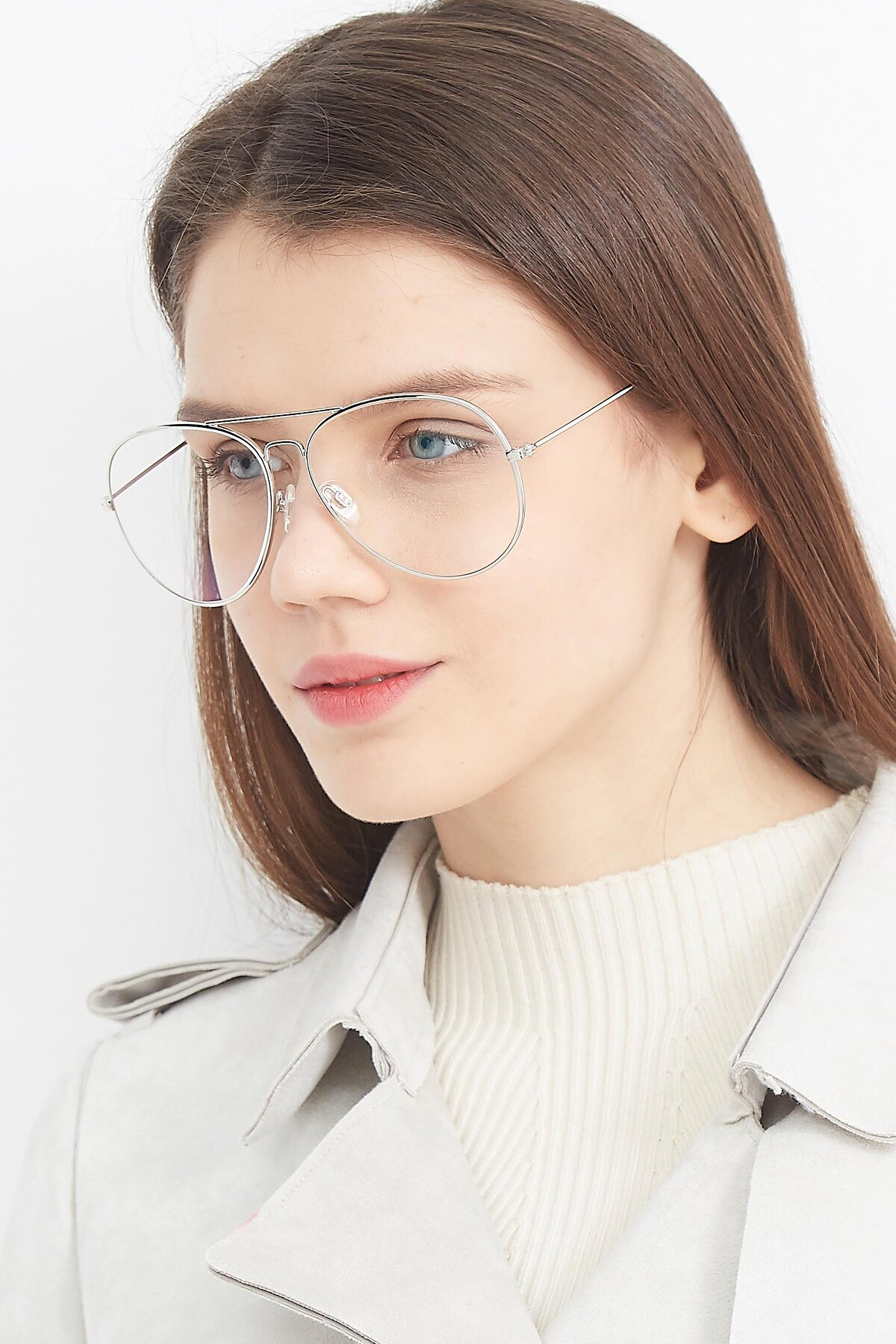 Women's lifestyle photography (portrait-2) of SSR179 in Silver with Clear Eyeglass Lenses