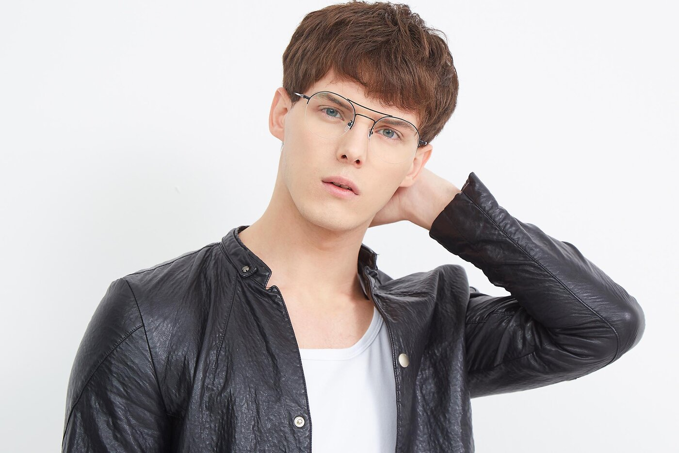 Black Aviator Round Semi-Rimless Eyeglasses