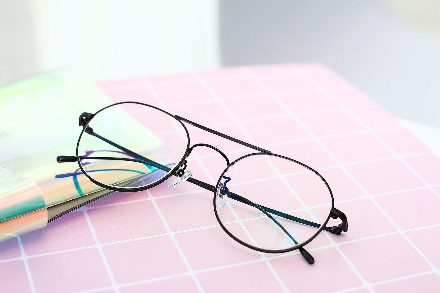 Black Hipster Aviator Round Eyeglasses