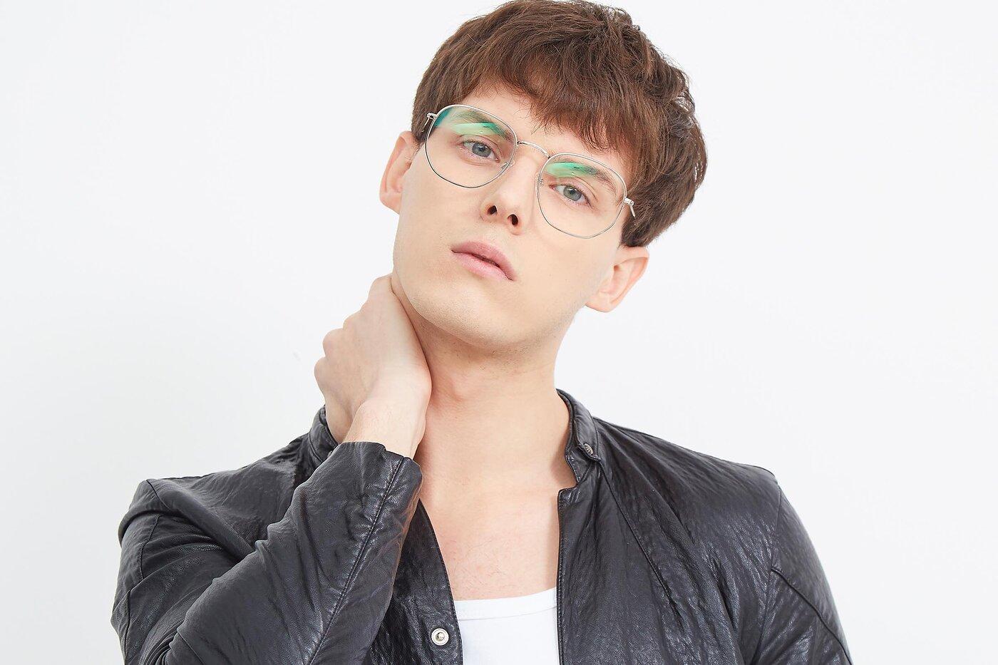 Silver Oversized Hipster Geometric Eyeglasses