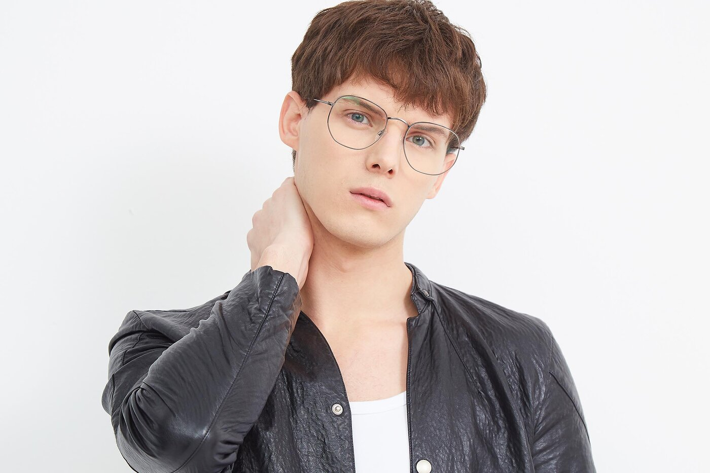 Grey Oversized Hipster Geometric Eyeglasses