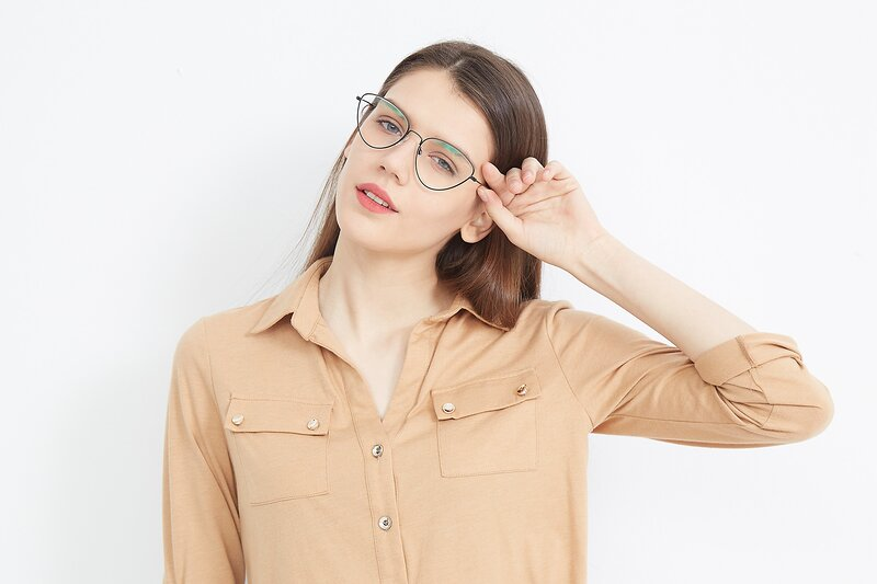 Black Hipster Thin Cat-Eye Eyeglasses