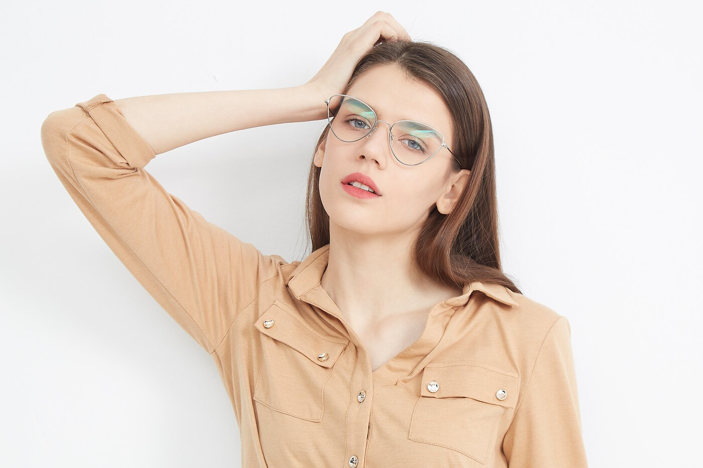 Silver Hipster Thin Cat-Eye Eyeglasses