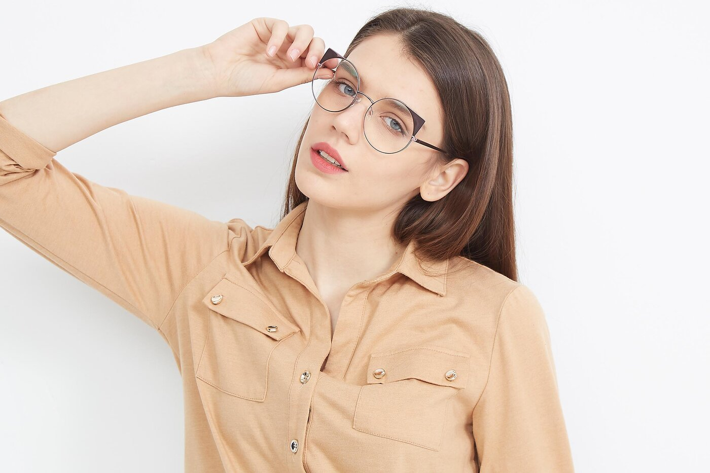 Pink Hipster Cat-Eye Round Eyeglasses