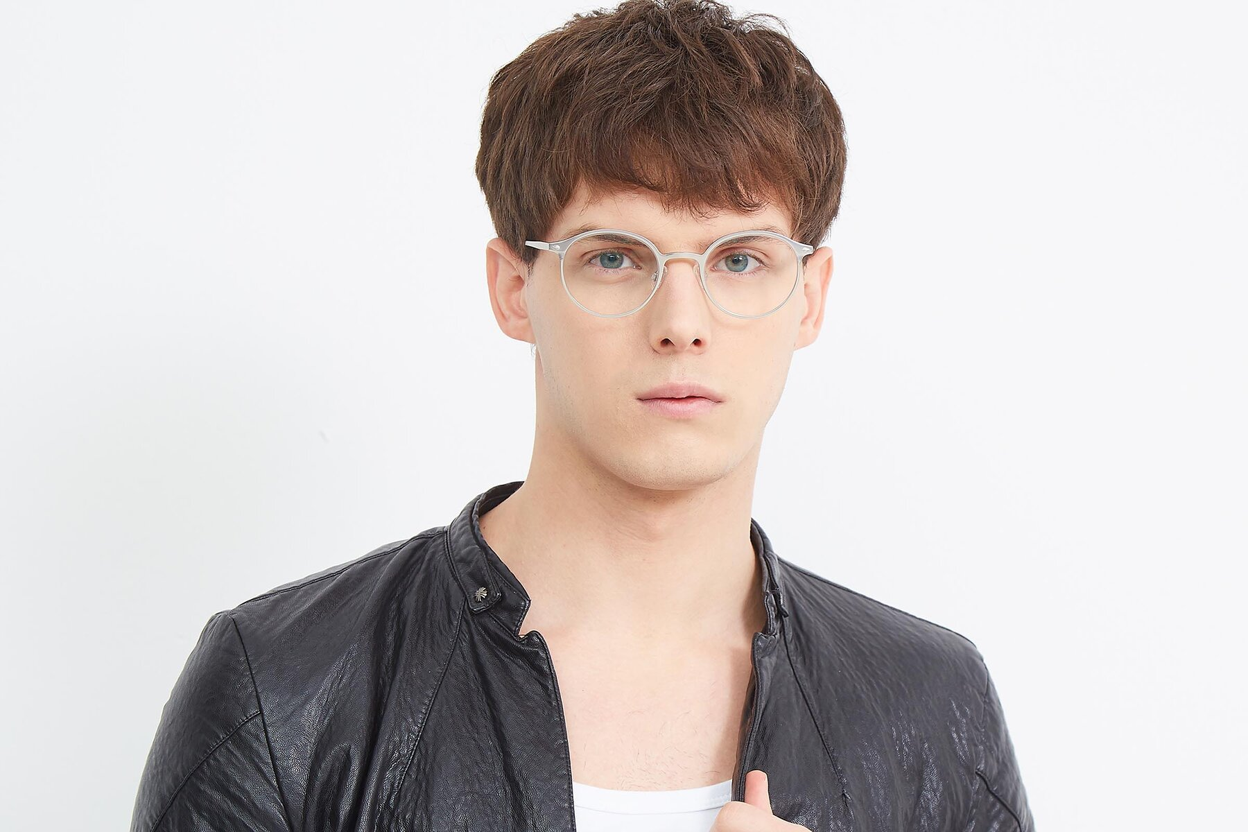 Men's lifestyle photography (landscape-1) of Twilight in Silver with Clear Eyeglass Lenses