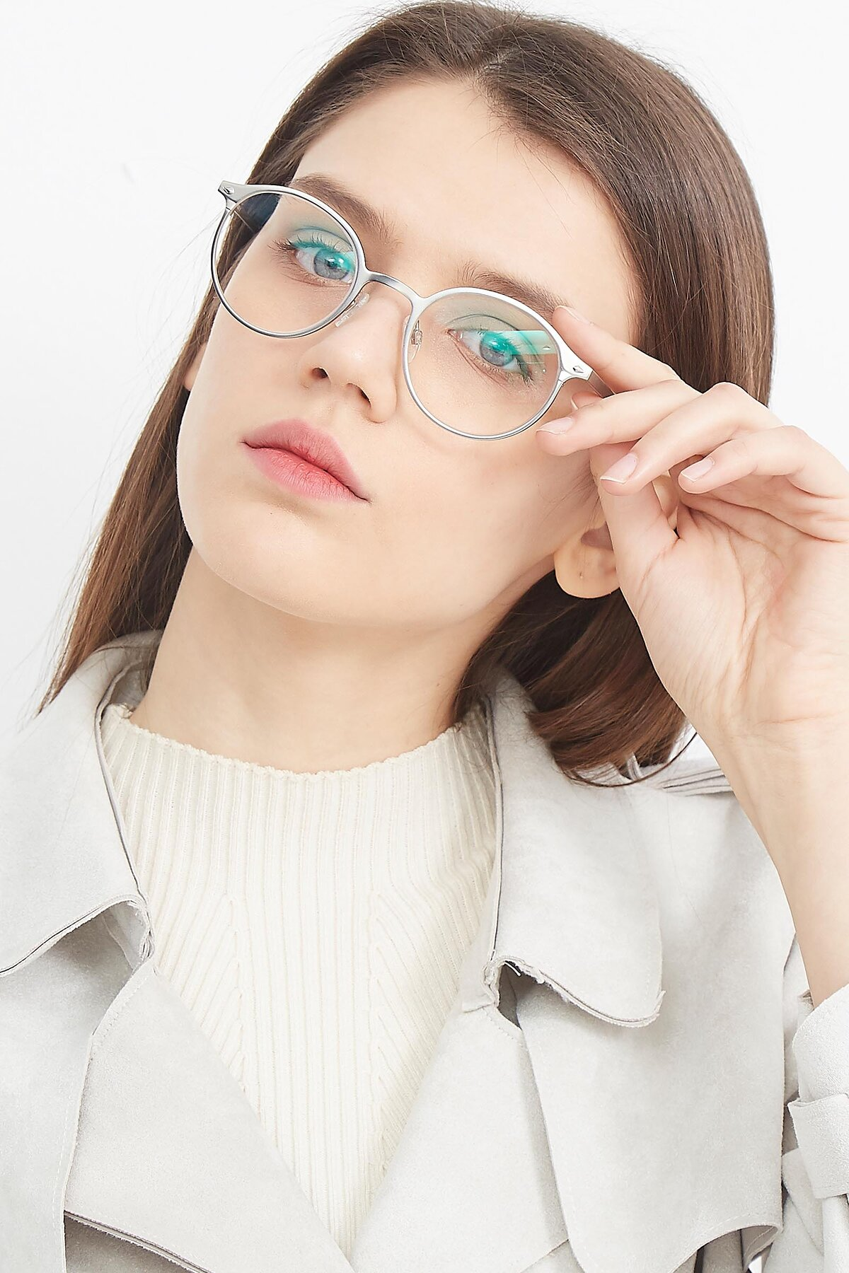 Women's lifestyle photography (portrait-2) of Twilight in Silver with Clear Blue Light Blocking Lenses