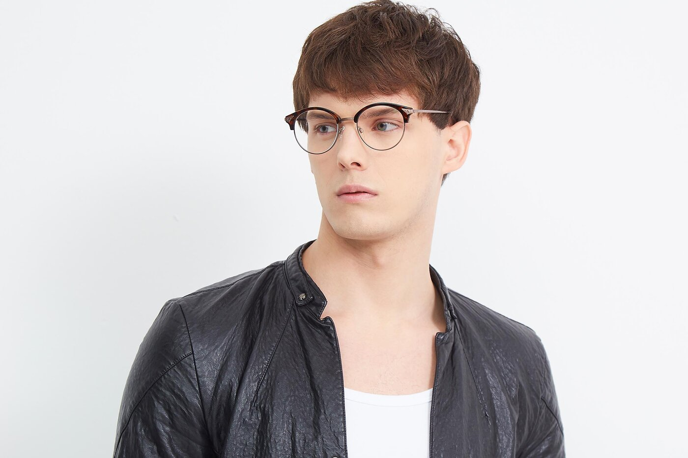 Tortoise-Brown Browline Retro-Vintage Full-Rim Eyeglasses