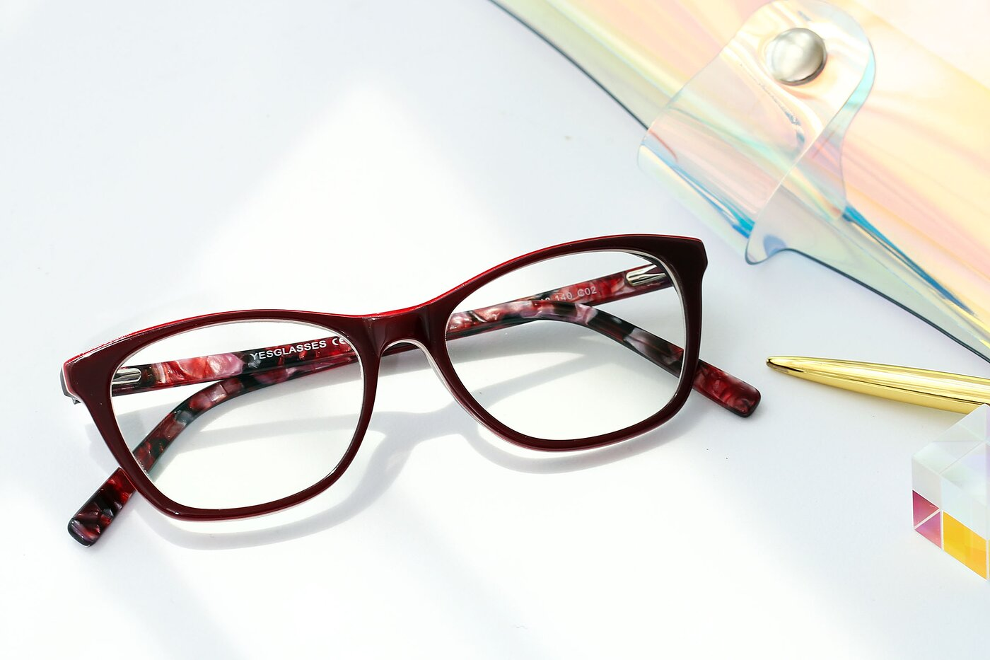 Wine Wayfarer Geek-Chic Acetate Eyeglasses