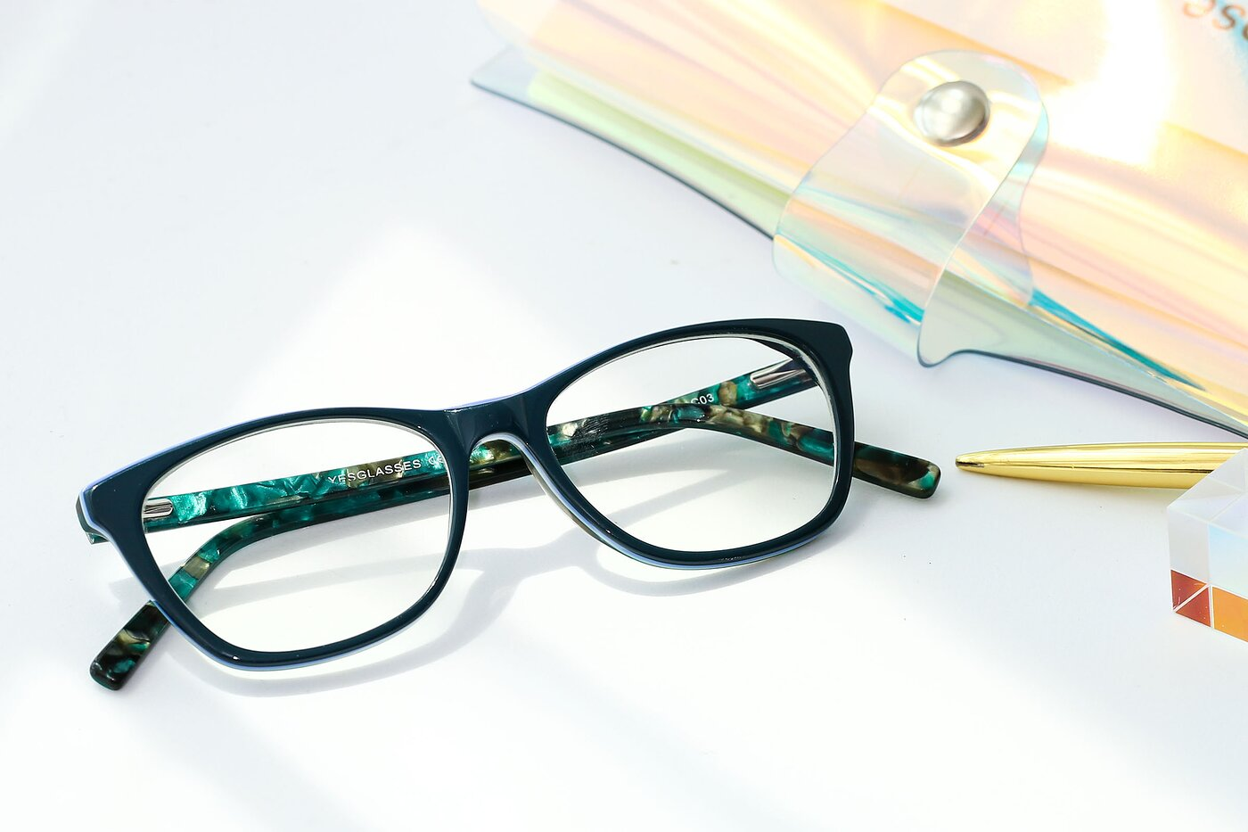 Green Wayfarer Geek-Chic Acetate Eyeglasses