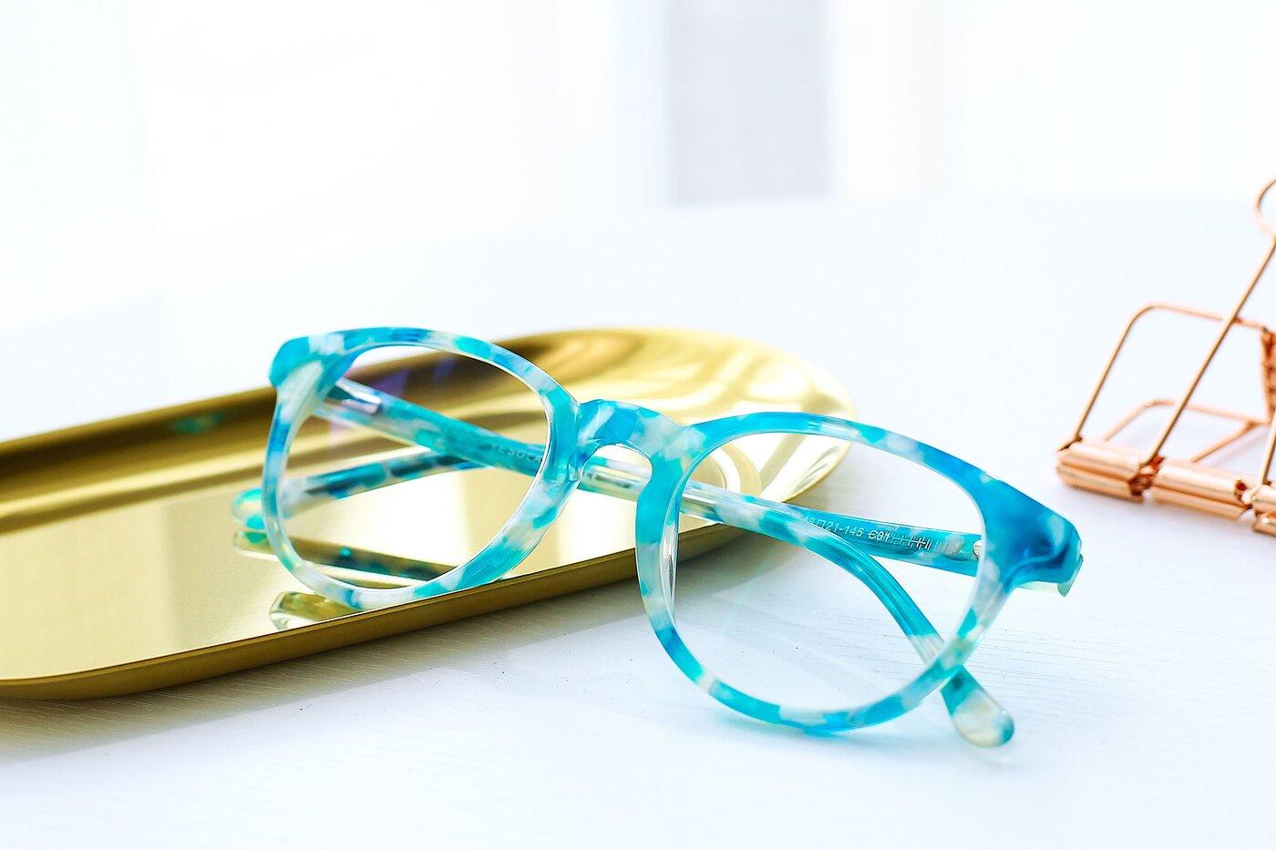Floral Cyan Horn-Rimmed Wayfarer Hipster Eyeglasses
