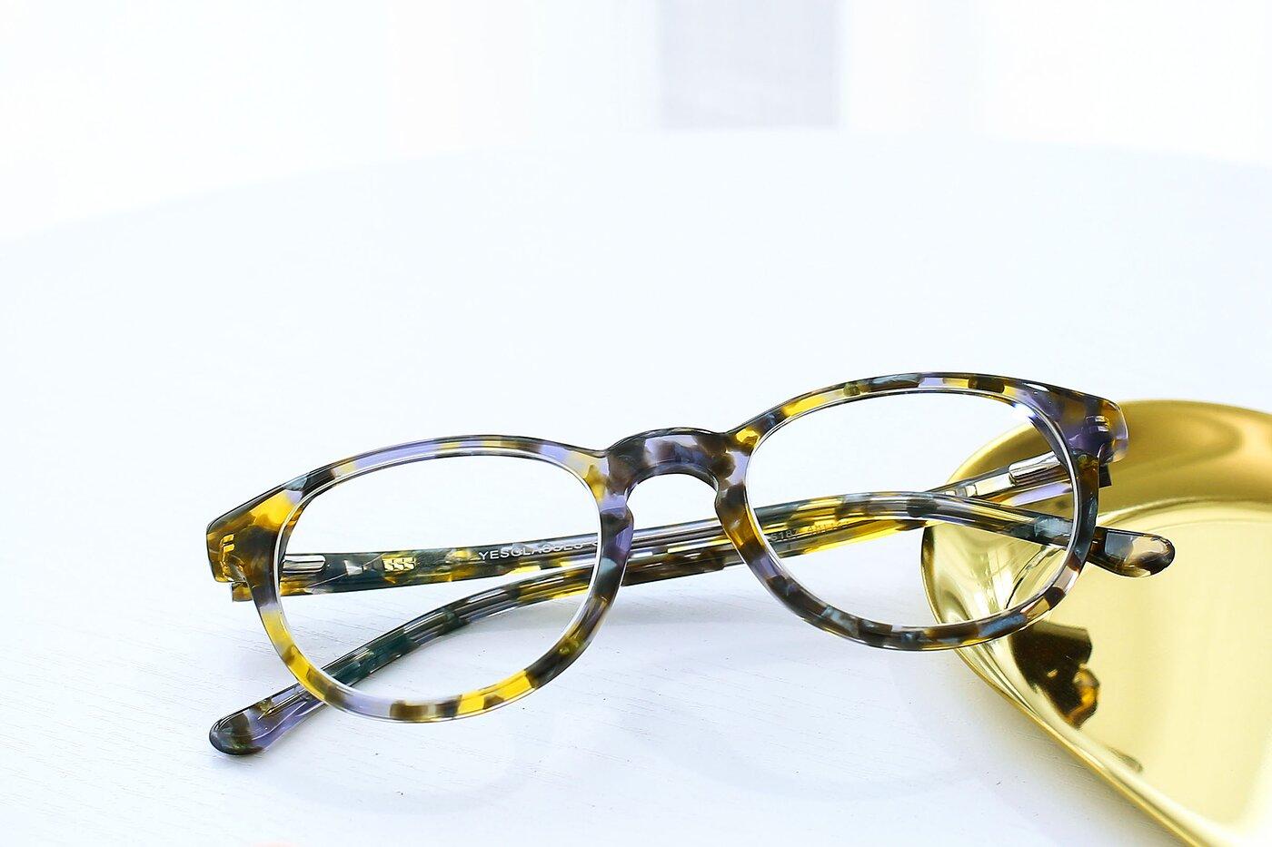 Floral Lavender Horn-Rimmed Wayfarer Hipster Eyeglasses