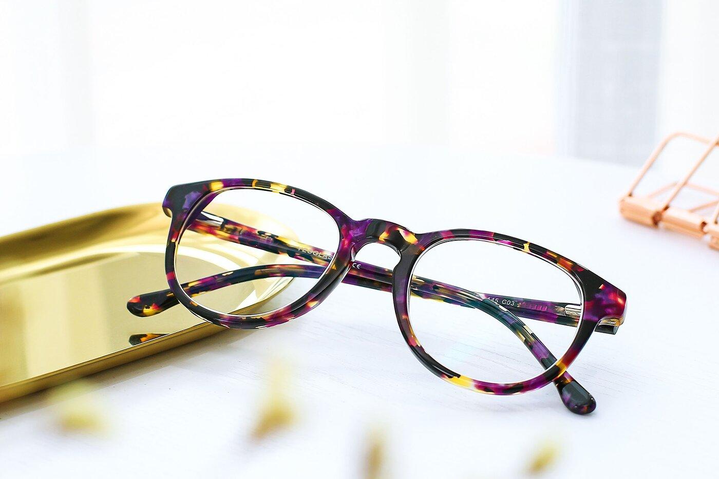 Floral Purple Horn-Rimmed Wayfarer Hipster Eyeglasses